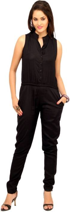 50ca7665b3ab Cottinfab Solid Women s Jumpsuit - Buy Black Cottinfab Solid Women s ...