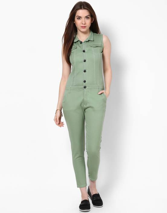 1f8879ac4195 Code 61 Solid Women s Jumpsuit - Buy Green Code 61 Solid Women s Jumpsuit  Online at Best Prices in India
