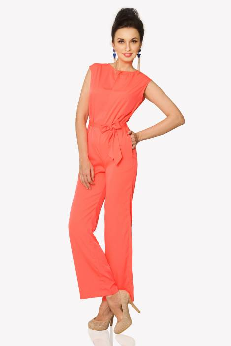 548171c1b35d Miss Chase Solid Women s Jumpsuit - Buy Coral Miss Chase Solid Women s  Jumpsuit Online at Best Prices in India