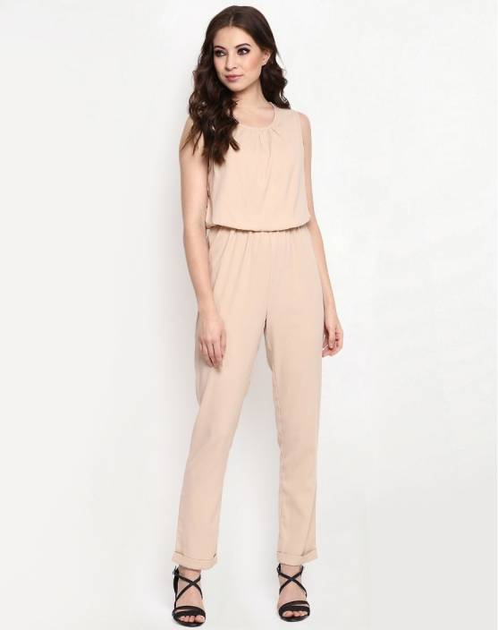 630edfb0b13f The Bebo Solid Women s Jumpsuit - Buy Beige The Bebo Solid Women s Jumpsuit  Online at Best Prices in India