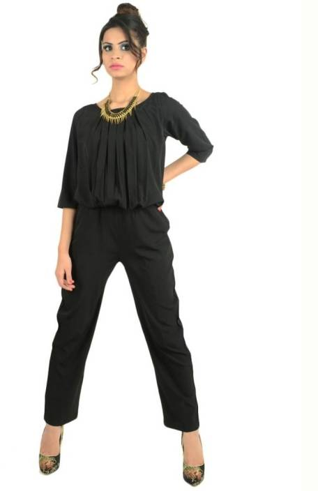 30b05de96df Magnetic Designs Solid Women s Jumpsuit - Buy Black Magnetic Designs Solid Women s  Jumpsuit Online at Best Prices in India