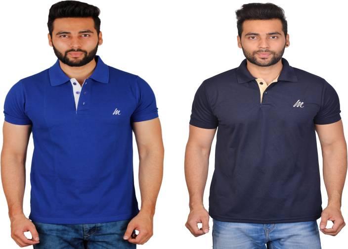 ce120ba42a07 Cousin's Solid Men Polo Neck Blue, Dark Blue T-Shirt - Buy Cousin's ...