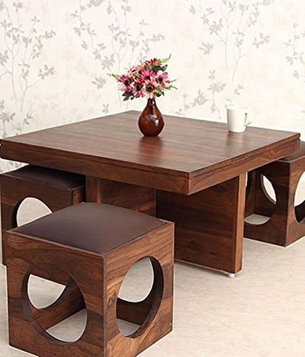 Suncrown Furniture Wooden Coffee Table With 4 Stools For Living