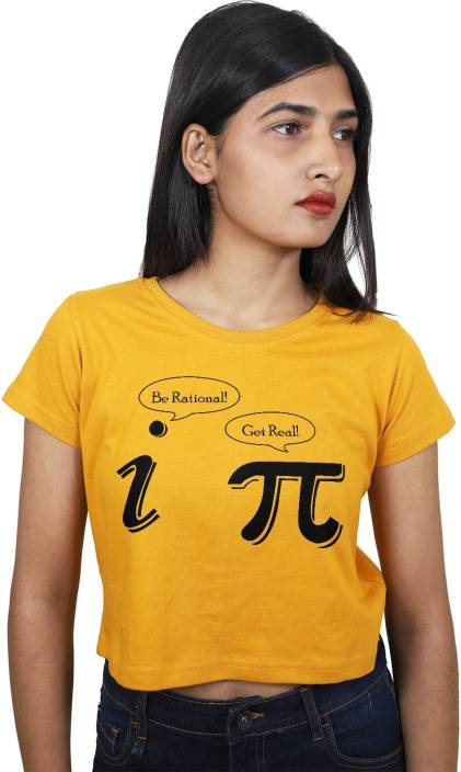 0205a921c3 ItkiUtki Casual Half Sleeve Graphic Print Women Yellow Top - Buy ...