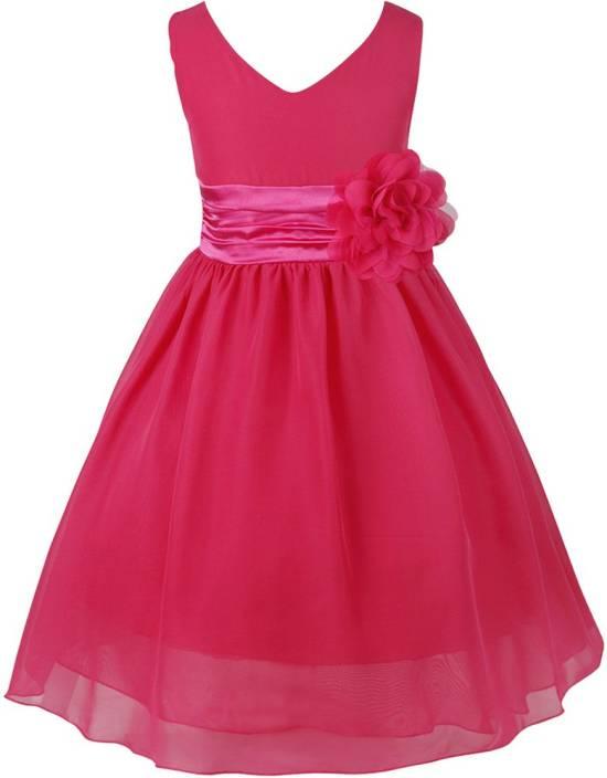 fc3a936532 MANNAT FAHION Girls Midi/Knee Length Festive/Wedding Dress (Pink,  Sleeveless)