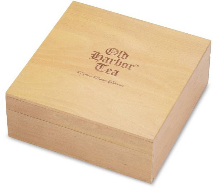 Old Harbor Tea Old Harbor Wooden Box 9 Slot Lemon Unflavoured Jasmine Mint Spices Assorted Green Tea Bags