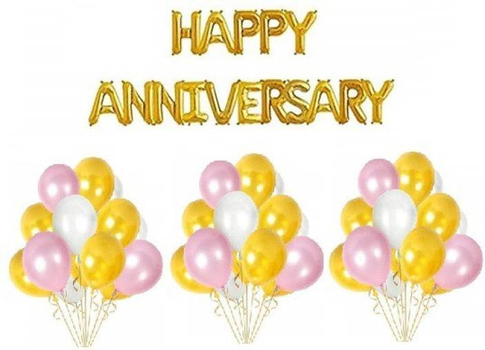 teple Printed 16 Letters Happy Anniversary Decoration     - Flipkart com