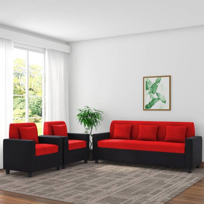 Adorn homez Optima Fabric 3 + 1 + 1 Black & Red Sofa Set