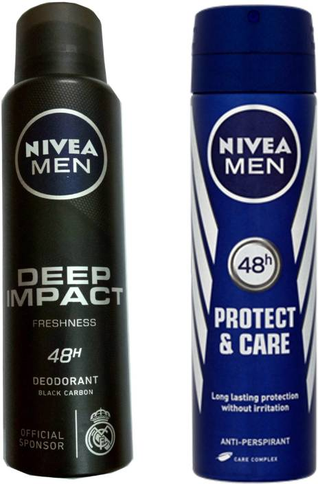 Nivea MEN DEEP IMPACT FRESHNESS DEODORANT 150 ML + MEN PROTECT & CARE DEODORANT 150 ML Deodorant Spray - For Men & Women  (150 ml, Pack of 2)