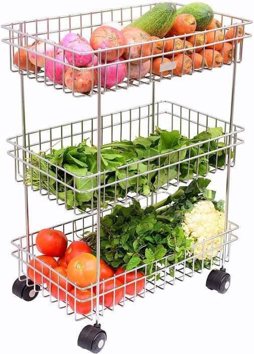 3D METRO Stainless Steel 3-Tier Fruits & Vegetable Trolley Stainless