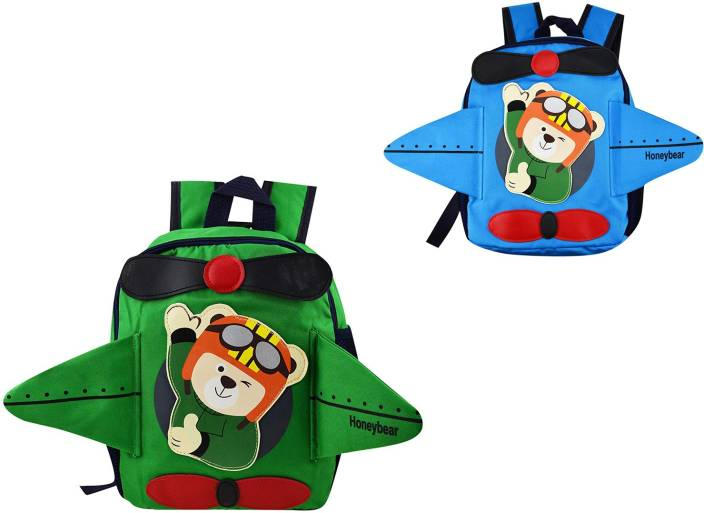 c34dfa4fb98d7 ZEVORA Pack of 2 Multi Color High Quality Soft Polyester Bear Plane Bag  School Bag (Multicolor