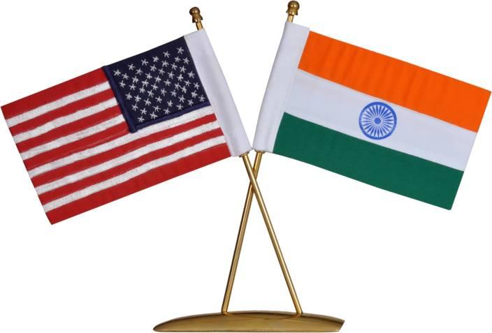 SMKT CROSS FLAG STAND INDIA & USA Rectangle Table Miniature Flag
