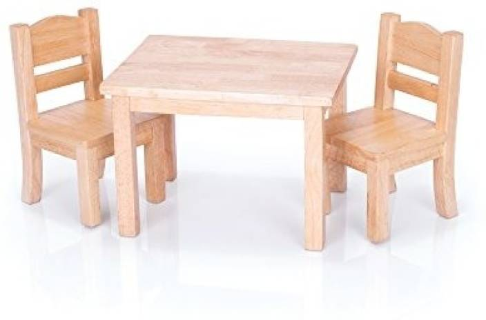 Guidecraft Natural Wooden Doll Table And Chairs Set Fits 18 American