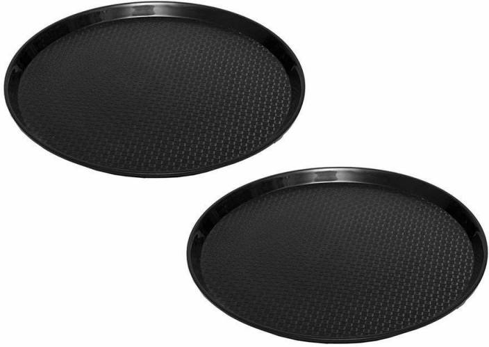 swift international Round Plastic Serving Tray black pack of