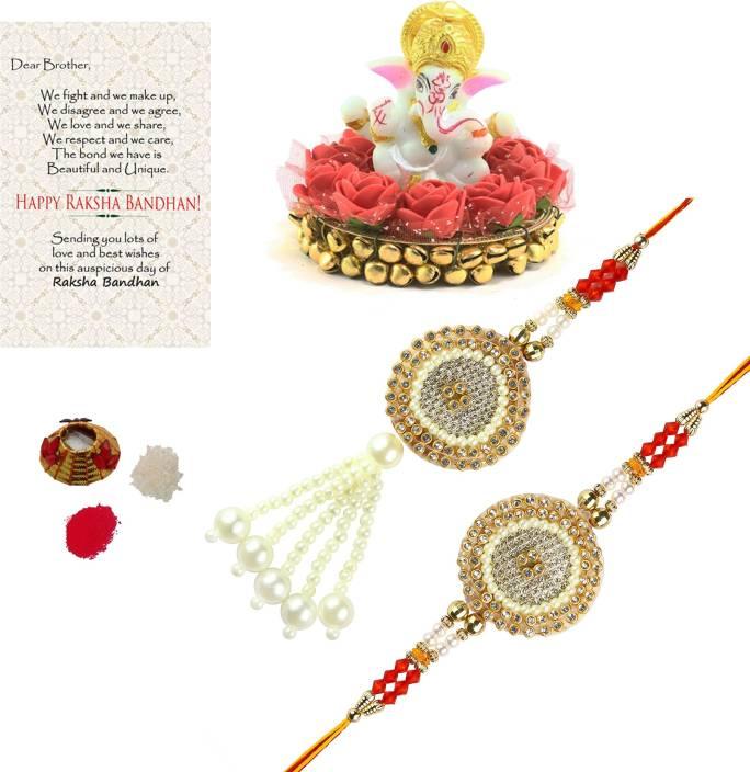 Bhaiya Bhabhi Rakhi, Chawal Roli Pack, Greeting Card, Showpiece Set(1 Bhaiya Bhabhi Rakhi Set, 1 Roli Tikka Matki, Best Wishes...