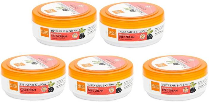 VLCC Fair and Glow Moistorizing Cold Cream Set of 5  (375 g)