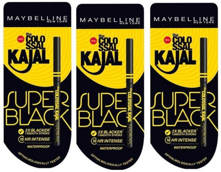 Maybelline New York Colossal Kajal Super Black Pack of 3M 35 g