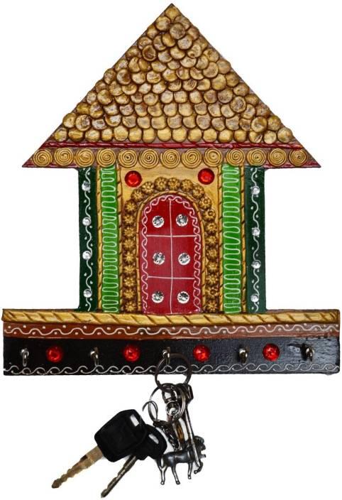 eCraftIndia Papier-Mache Traditional Village Hut 5 Hooks Wooden Key Holder