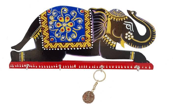 DivineCrafts Handpainted Kundan Studded Elephant Wooden Key Holder