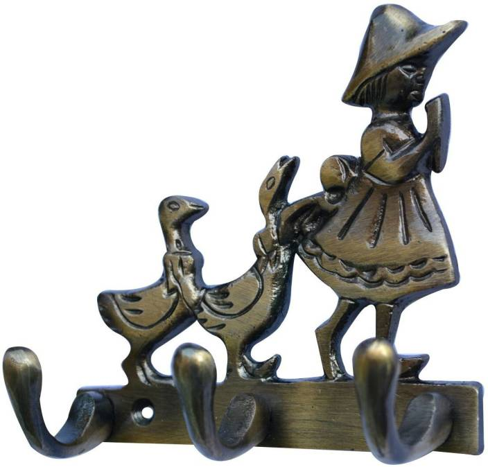 Aakrati Baby with Birds 3 Hook for You Wall Décor Aluminium Key Holder