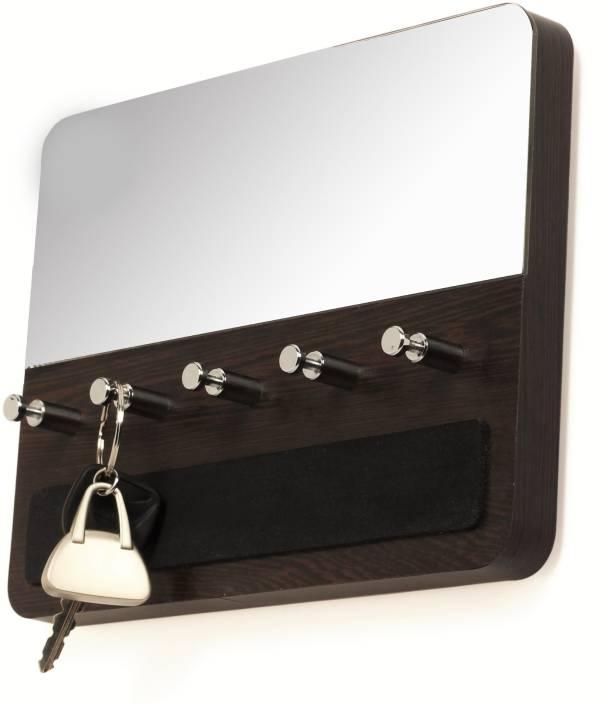 94133b2a30 Bluewud Wall Key Chain Holder Spiegel - 5 Keys Wooden Key Holder (5 Hooks,  Brown, Silver)