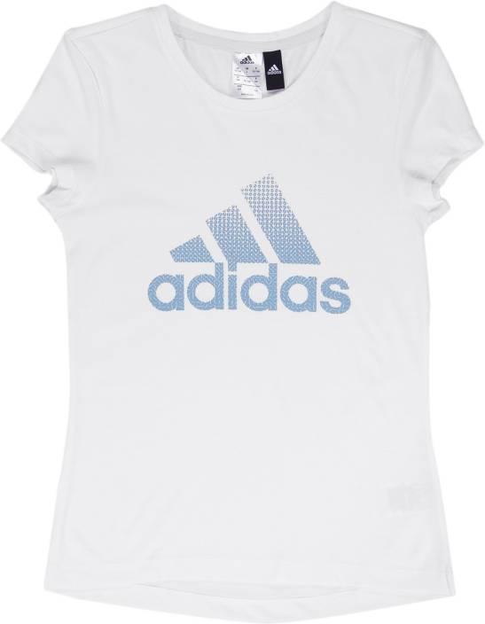 6947fb70 ADIDAS Girls Printed Cotton Blend T Shirt Price in India - Buy ...
