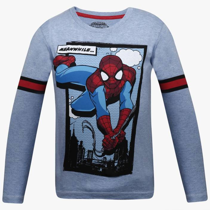 2a343944 Spiderman Boys Printed Cotton Polyester Blend T Shirt (Light Blue, Pack of  1)