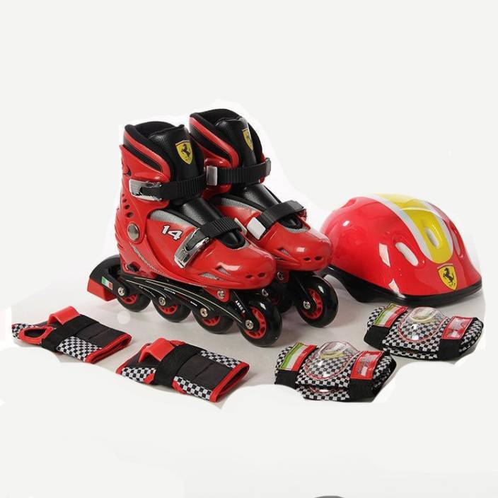 SWAGSPIN Original Ferrari Inline Skate combo Set for kids-Red- 29-32 Skating Kit