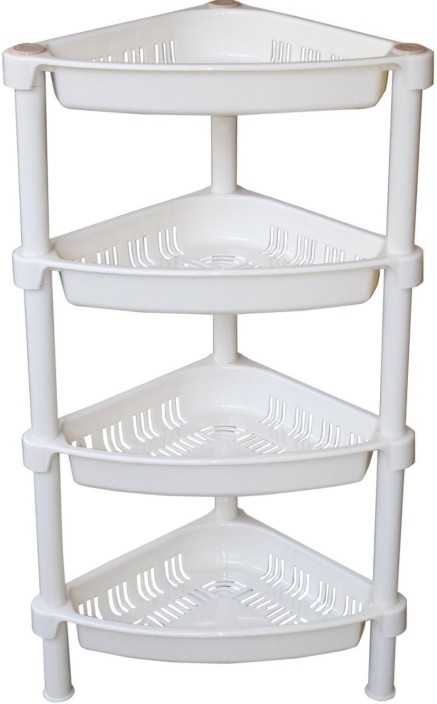 HOKIPO 4 Layer Plastic Corner Storage Rack Plastic Kitchen Rack