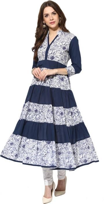 bcb64aade88 Aks Women s Floral Print Anarkali Kurta - Buy Navy Blue Aks Women s ...