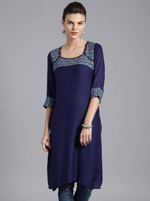 hot sale online fbe0d ab562 Moda Rapido Women's Solid Straight Kurta - Buy Navy Blue ...