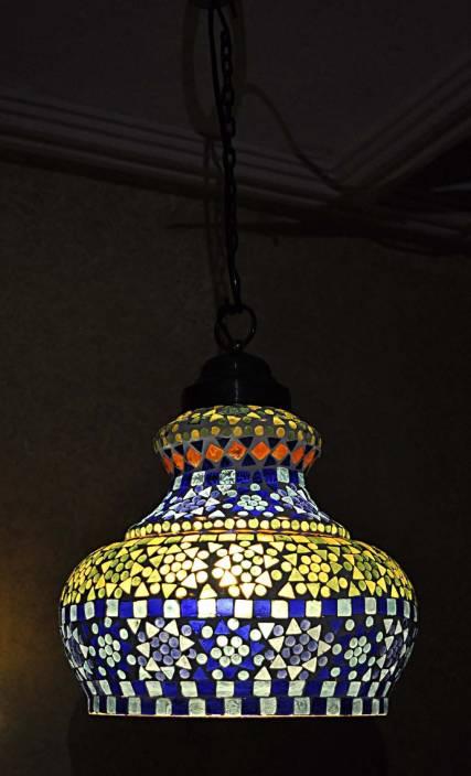 Lal Haveli vintage Antique Mosaic Hanging Lamps Ceiling Pendant Lamps Night Light Multicolor Glass Lantern