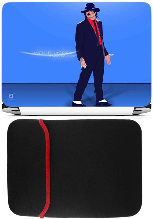 FineArts Michael Jackson Laptop Skin with Reversible Laptop Sleeve Combo Set