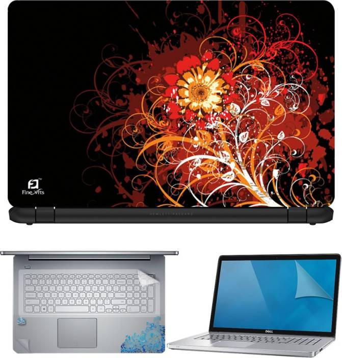 FineArts Abastract Flower 4 in 1 Laptop Skin Pack with Screen Guard, Key Protector and Palmrest Skin Combo Set