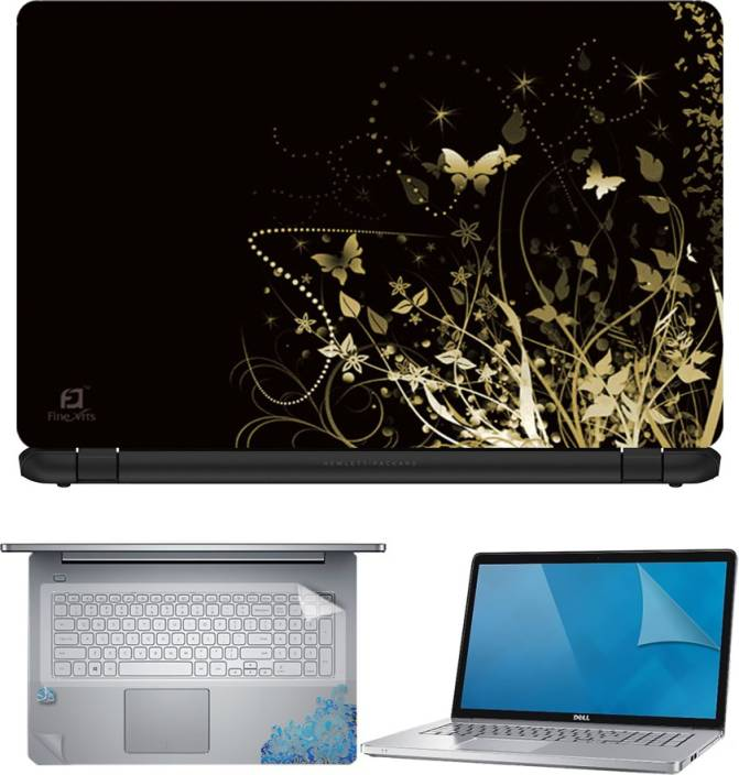 FineArts Butterfly Floral Abstract Black Back 4 in 1 Laptop Skin Pack with Screen Guard, Key Protector and Palmrest Skin Combo Set