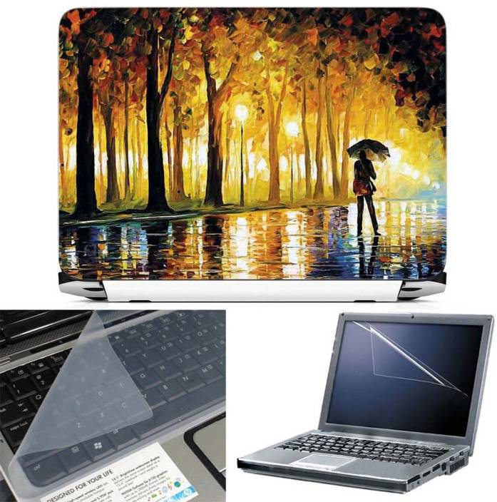 FineArts Oil Painting Man with Umbrella 3 in 1 Laptop Skin Pack With Screen Guard & Key Protector Combo Set