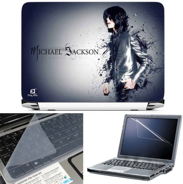 FineArts Michael Jackson Effect 3 in 1 Laptop Skin Pack With Screen Guard & Key Protector Combo Set