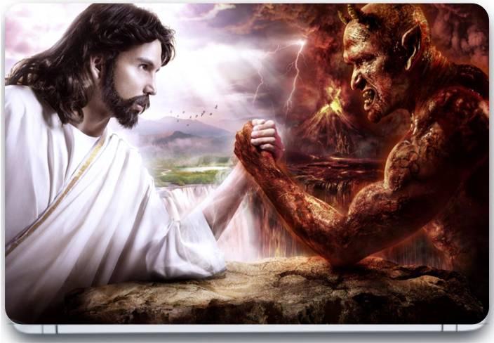 trendsmate jesus vs devil 3m vinyl and lamination laptop decal 15 6