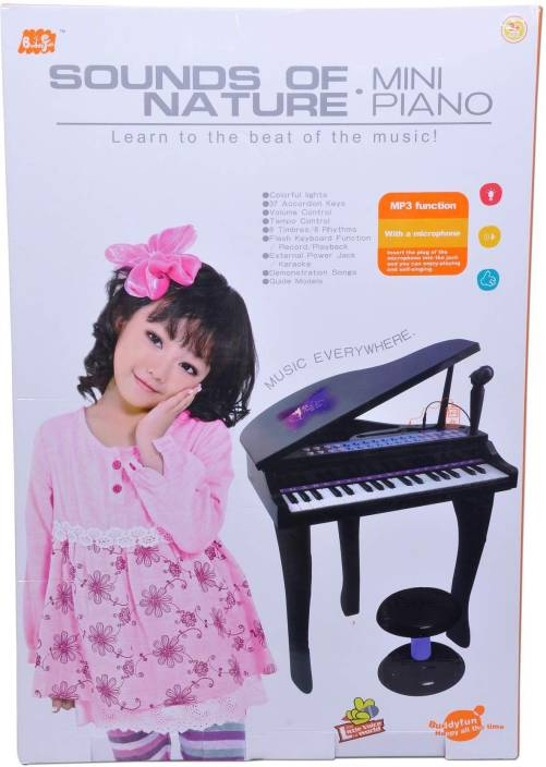 625527db8c Buddy Fun Electronic Symphonic Piano   Key Board Organ – Educational Musical  Toy With Mp3 Plug-In Option + Sing-Along Microphone (Black)