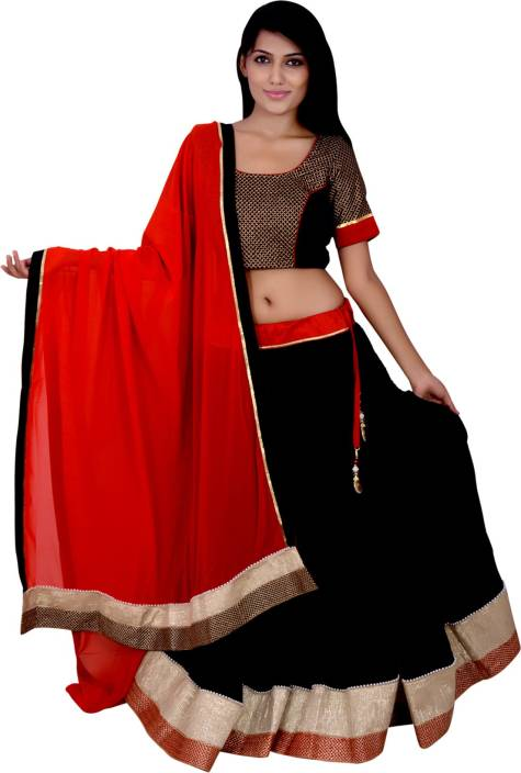 f11829b4a5 Cotton Ride Self Design Lehenga, Choli and Dupatta Set - Buy Black ...
