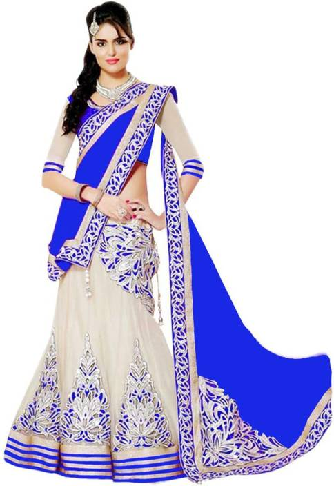 Jp Enterprise Embroidered Ghagra, Choli, Dupatta Set  (Blue, Beige)