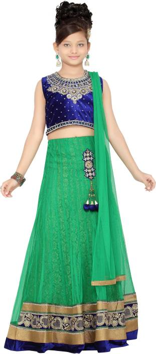 Aarika Girls Lehenga Choli Ethnic Wear Self Design Lehenga, Choli and Dupatta Set