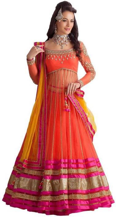 78e1bb4dcb2427 Greenvilla Designs Embroidered Lehenga & Kurta - Buy Orange ...
