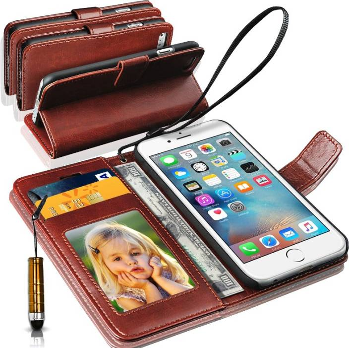 huge discount 605de 35f71 N+ India Apple Iphone 5S::Apple Iphone 5 Wallet Case Cover With Mini Stylus  Brown Accessory Combo