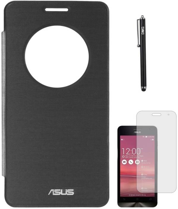 watch bb559 f3443 DMG Circle View Flip Cover for Asus Zenfone 5 A501CG, Matte Screen Guard  and Stylus Accessory Combo