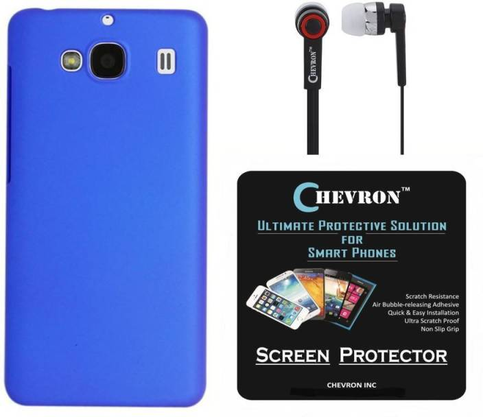 reputable site d8b6d 49f5d Chevron Premium Back Cover Case for Mi Redmi 2 Prime with HD Screen Guard &  Chevron 3.5mm Stereo Earphones (Royal Blue) Accessory Combo
