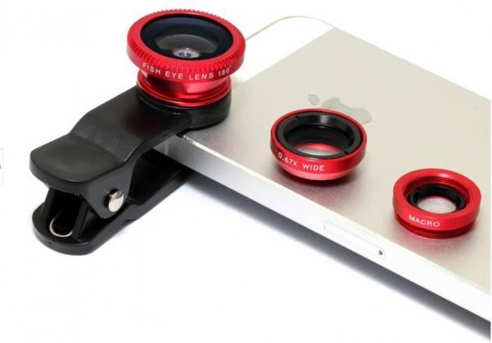 Finger's Universal 3 in1 Clip On Camera Lens Kit Wide Angle Fish Eye Macro Red Mobile Phone Lens