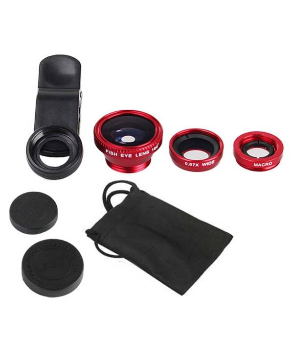 Joyroom 3 in 1 Fish Eye, Wide angle and Macro Lens - Red Mobile Phone Lens