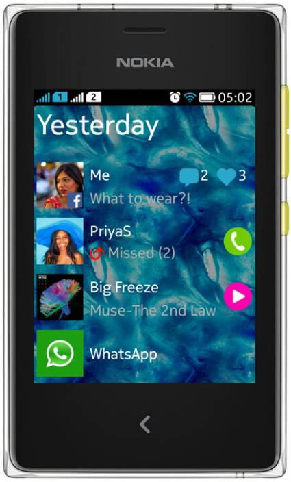 Nokia Asha 502 (Yellow, 64 MB)