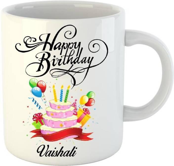 Huppme Happy Birthday Vaishali White 350 Ml Ceramic Mug Price In